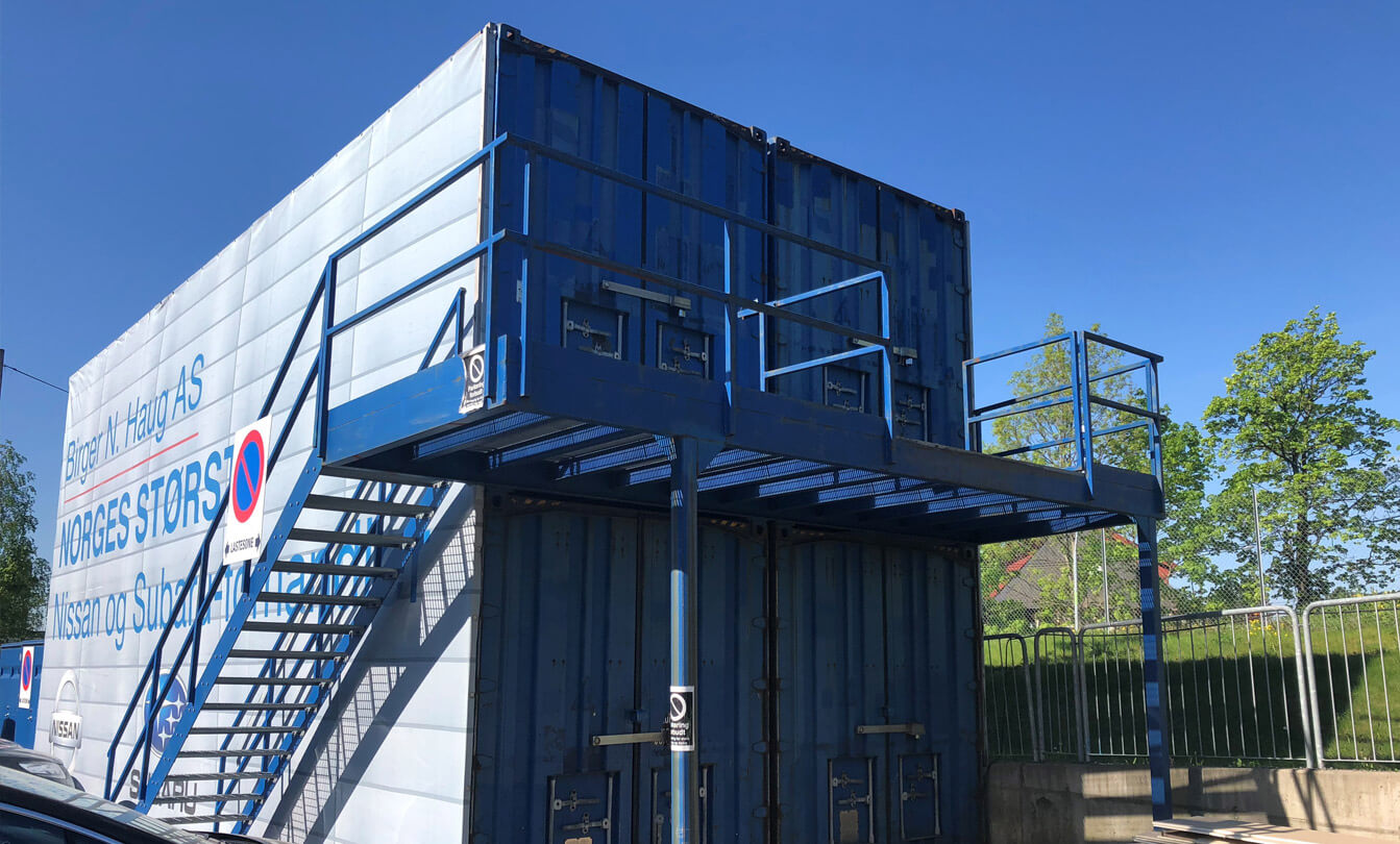 Containere i bruk som dekkhotell
